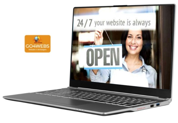 laptop with woman showing 'your website is always open 24/7' sign