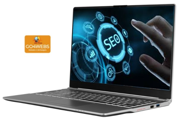 open laptop with screen showing finger pointing to SEO graphic