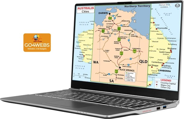 laptop showing map of northern territory and darwin