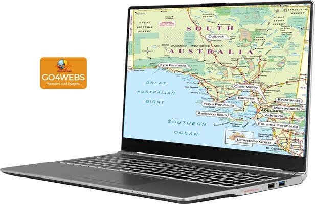 laptop showing map of adelaide and south australia